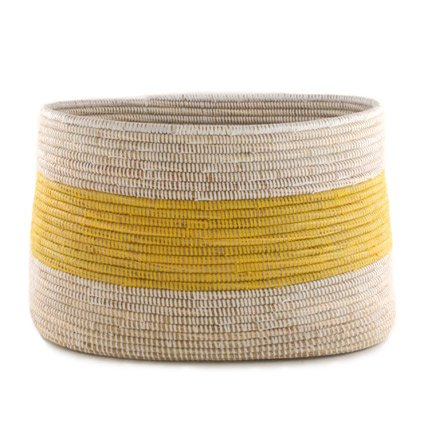 Lovely Amazon.com: Handmade Fair Trade Woven African Knitting Storage Basket    Yellow Stripe: Home U0026 Kitchen