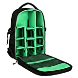DSLR SLR Camera Backpack for Women Men Waterproof Camera Bag with Laptop for Canon Nikon Sony GREEN
