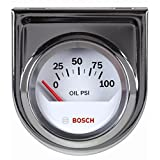 """Bosch SP0F000041 Style Line 2"""" Electrical Oil Pressure Gauge (White Dial Face, Chrome Bezel)"""