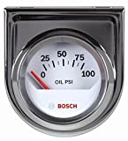 Bosch SP0F000041 Style Line 2'' Electrical Oil Pressure Gauge (White Dial Face, Chrome Bezel)