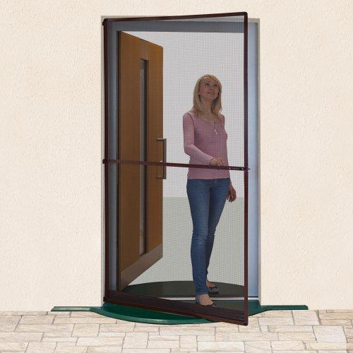 JAROLIFT Insektenschutz Drehrahmen - Insektenschutz für Türen - 120 x 210 cm - Farbe braun