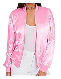ARRIVE GUIDE Women's Casual Zip Front Solid Lightweight Thin Bomber Jacket
