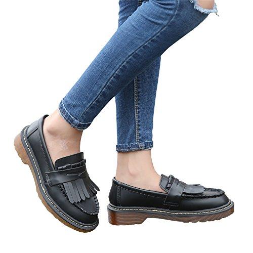 Smilun Damen Bootsschuhe Rund Toe Loafer Flach Mokassins Quaste Schwarz