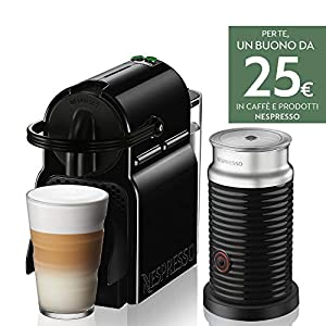 Nespresso Inissia Inissia & Aeroccino EN80.BAE Macchina per Caffè espresso, a capsule, 1500 W, 0.7 litri, Plastica, Nero…