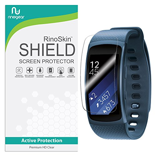 [8-PACK] RinoGear for Samsung Gear Fit2 Screen Protector [Active Protection] Gear Fit 2 Flexible HD Invisible Clear Shield Anti-Bubble