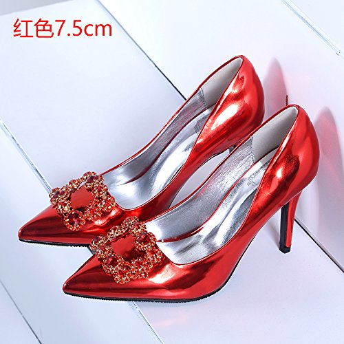 water shoes heels red high Pumps 5cm lady 7 shoes Court shoes crystal bridal Sandals Heels High 39 HUAIHAIZ Wedding boots evening drilling with Shoes 1qwH7cT