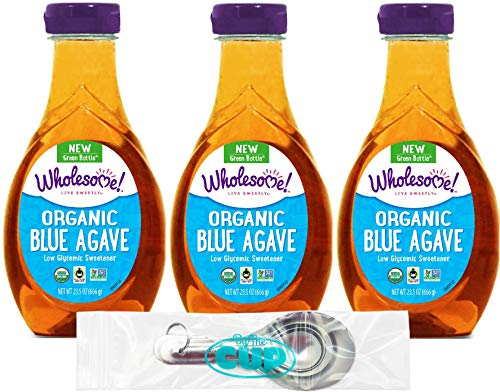 Wholesome Organic Blue Agave Nectar, Syrup, Low Glycemic Sweetener, Gluten Free, Non GMO, 23.5 Fluid Ounce Bottle (Pack of 3) - with By The Cup Measuring Spoons