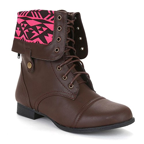 Twisted Women's Trooper Wide Calf Aztec Print Fold Over Military Boot - BROWN, Size 10
