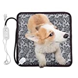 Pet Heating Pad KepooMan Waterproof Electric Pad for Dogs &Cats Warming Mat with Chew Resistant Cord 17.7''x17.7''