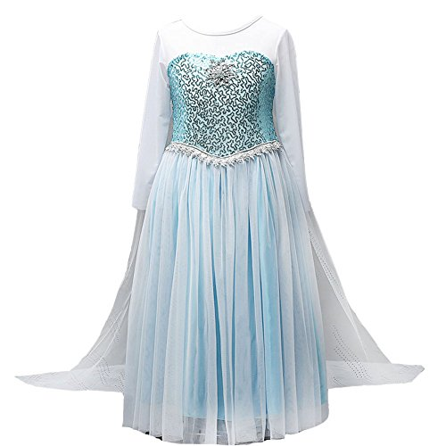 Elsa Blue Dress (Girls Snow Queen Costume Elsa Dress Christmas Princess Dress Up,Sky Blue,140(US 6))