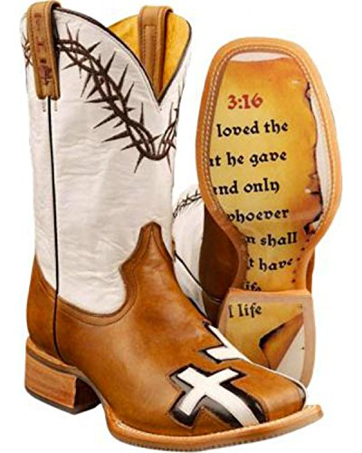 Tin Haul Shoes Men's Between Two Thieves Western Boot, Brown/White, 10.5 EE US (White Cross Boots)