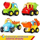 ACTRINIC Baby Powered Car Toys Sets for 12 Months Boys Girls Toddlers, Push and Go Friction Early Educational Toddler Toys -Tractor,Bulldozer,Cement Mixer&Dumper Construction Engineering Vehicles