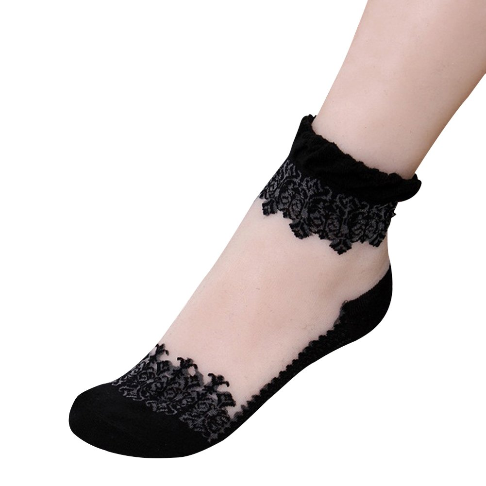 Eleery 5 Pairs Fashion Women Ultrathin Transparent Crystal Lace Silk Socks Flower Elastic Short Socks Spring Casual Sport Ship Socks Stockings