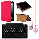 VanGoddy Mary Leather Folio Carrying Case for Nuvision 9.7 to 10.1-inch Tablets (Pink & Gray) + Bluetooth Keyboard + VG Headphones