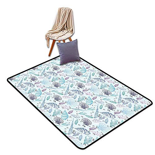 - Room Bedroom Floor Rug Nautical Various Sea Shell Pattern Underwater Bubbles Ocean Maritime Print Easy to Clean W63 xL90.5 Indigo Light Blue Purple