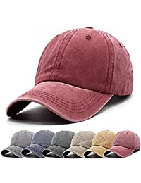 85fc2ad8 Unisex Vintage Washed Distressed Baseball-Cap Twill Adjustable Dad-Hat