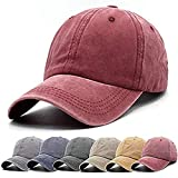 Unisex Vintage Washed Distressed Baseball Cap Twill Adjustable Dad Hat,C-burgundy,One Size