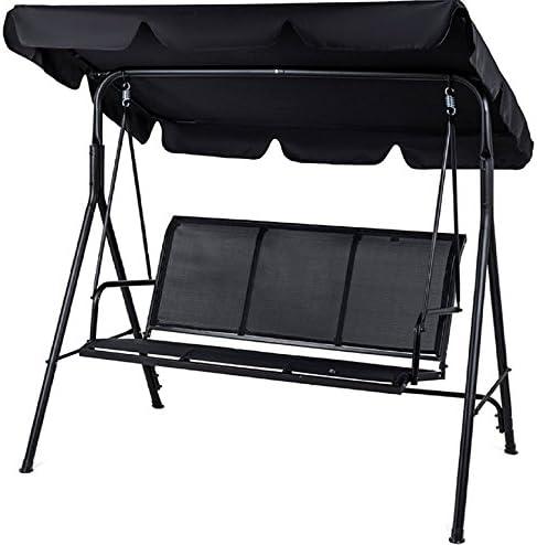 Balancín PROGEN, 3 plazas, para el jardín o patio, con toldo, silla columpio, con cojín, de metal, negro: Amazon.es: Jardín