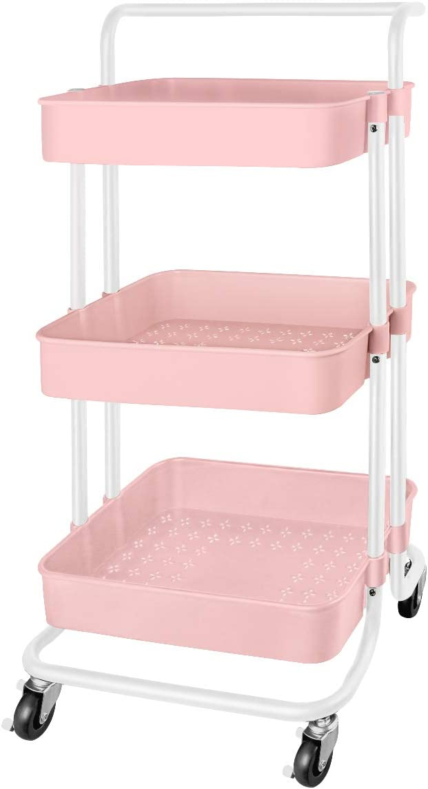 QiMH 3 Tier Rolling Storage Cart Heavy Duty Mobile Rolling Utility Cart with Handle Wheels Multifunction Large Storage Shelves Organizer with Mesh Basket Trolley for Kitchen, Bathroom, Office (Pink)