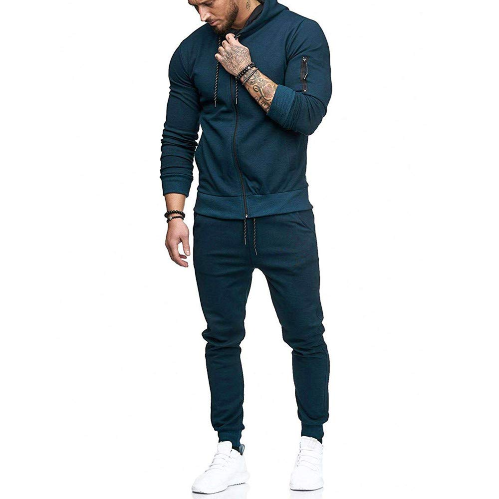 67c0b7f1 Amazon.com: Limsea Men's Sports Suit Tracksuit 2019 Spring Solid Color  Full-Zip Running Jogging Sports Jacket and Pants: Clothing