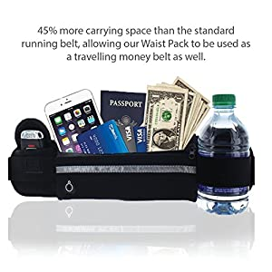 Waist Pack Best Running Belt Fanny Pouch Waistband Case Holds All Cell Phones Sports Fitness Holder Bag fits Women Men Jog Runners With Water Resistant Reflective Zipper Pocket All Waist Sizes (Black)