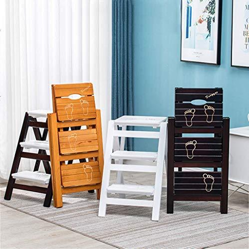 Vuxna stol trästege trappa säte hylla tall wood Dual-Use Climb 3-lagers pedal breddad säkerhet, spaltschett med handtag