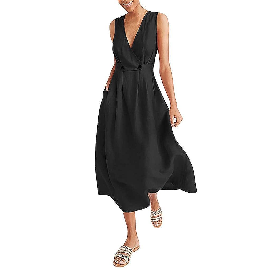 AIFGR Falda de señora Damas Vestido de Playa sin Mangas ...