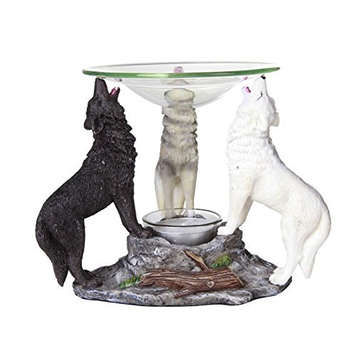 Pacific Giftware Novelty Tri Colored Wolves Wolfpack Scented Oil Warmer Diffuser Collectible Figurine -