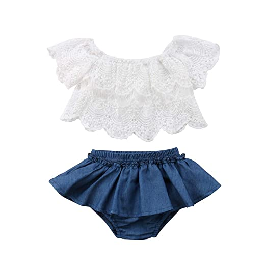 c1ffd0c41b78c Amazon.com: Toddler Baby Girls 0-24 Months Off Shoulder Lace Tops+Denim Shorts  Dress Outfits Clothes: Clothing