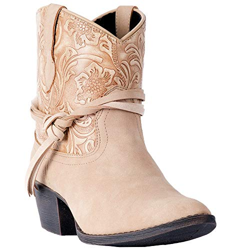 "Dingo Western Boots Womens Valerie 6"" Ankle Floral 8 M Tan DI8951"