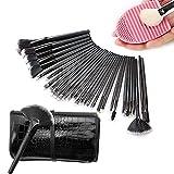 Sunroyal® 32 Pcs Black Rod Makeup Brush Cosmetic set Kit Professional Foundation Brush Set Eye Face Makeup Brushes with Black Synthetic Leather Pouch Case