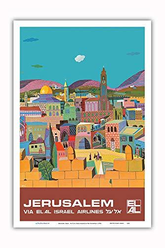 Pacifica Island Art - Jerusalem, Israel - via El Al Israel Airlines - Vintage Airline Travel Poster by Peri Rosenfeld c.1970s - Master Art Print - 12in x 18in