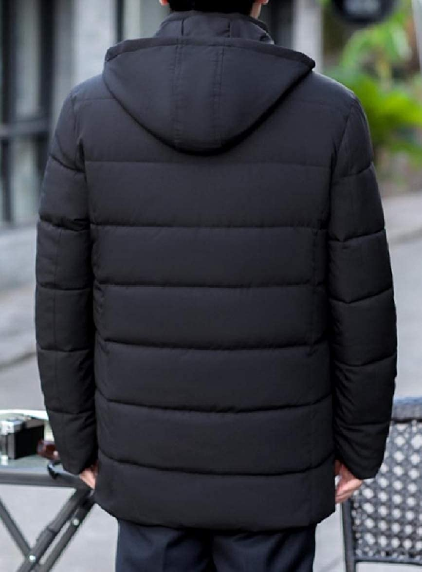Abetteric Mens Velvet Warm Hood Pocket Thickened Solid Zipper Puffer Jacket