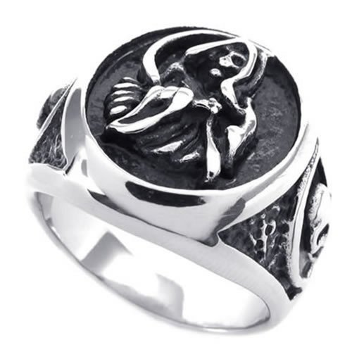 KONOV Vintage Stainless Steel Casted Grim Reaper Skull Tribal Biker Mens Ring - Size 8