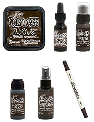Tim Holtz Ranger Distress - August 2015 Color - Ink Pad, Stain, Paint, Spray Stain, Re-inker and Marker Bundle - Ground Espresso