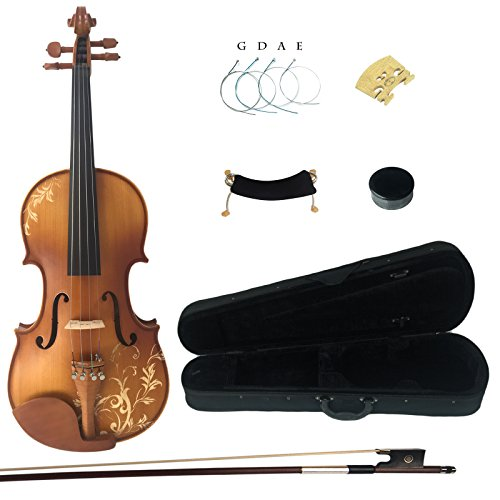Kinglos 4/4 Flower Carved Ebony Fitted Solid Wood Violin Kit with Case, Shoulder Rest, Bow, Rosin, Extra Bridge and Strings Full Size (DH003) by Kinglos