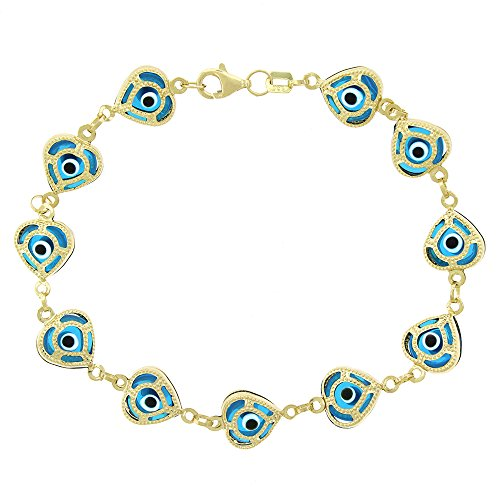 14k Yellow Gold Womens 9mm Clear Baby Blue Evil Eye Heart Good Luck Charm Bracelet Chain 7.5'' by In Style Designz