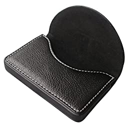 KINGFOM™ PU Leather Business Name Card Case Wallet Holder with Magnetic Shut (Black)