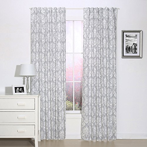Grey Damask Print Window Drapery Panels - Set of Two 84 by 42 Inch Panels