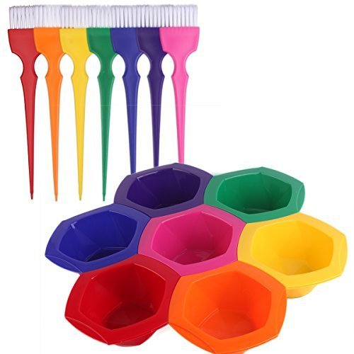 Colorful Hair Dye Brush and Bowl Set, Rainbow Hair Coloring Brush Bowl Set-7 Color by Tint bowl and brush