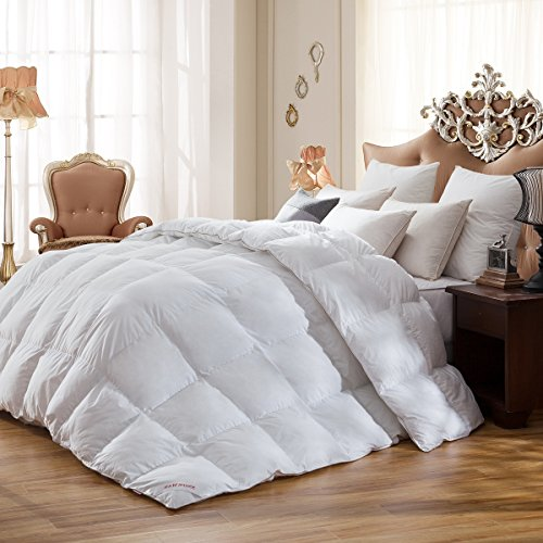 SNOWMAN White Goose Down Comforter 100% Cotton Cover Down Proof,Coziest, Queen 90x90 (Filled Snowman)
