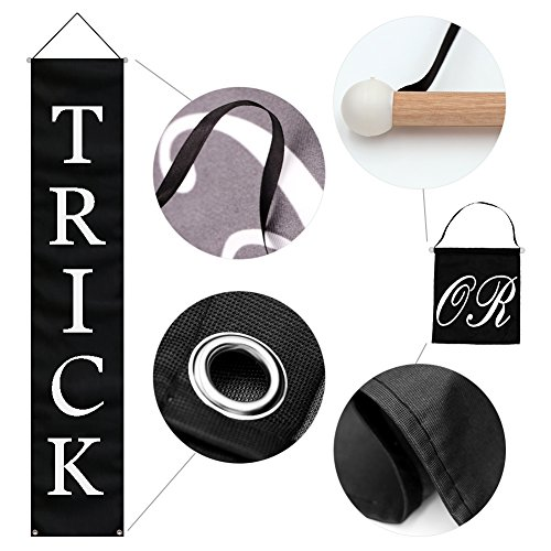 PartyTalk 3pcs Trick or Treat Halloween Banner Outdoor, Halloween Hanging Sign for Home Office Porch Front Door Halloween Decorations by PartyTalk (Image #1)