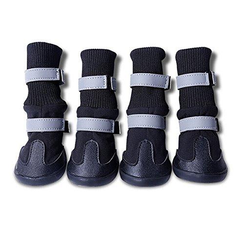 4pcs Pet Boots Socks Medium Dog Waterproof Rain Shoes Non-slip Rubber Puppy (Black) (M) - 5