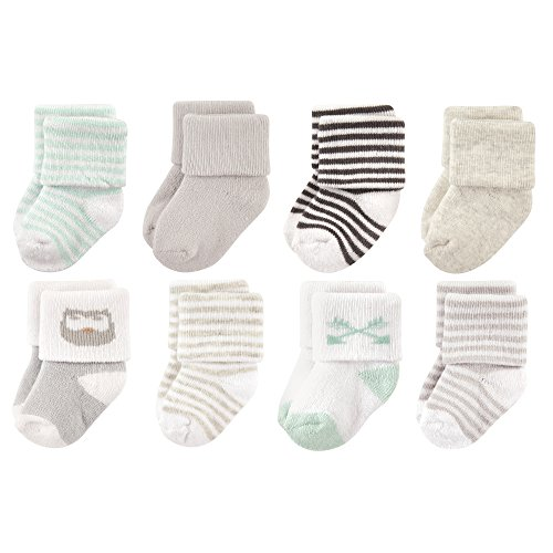Luvable Friends Unisex Baby Socks, Mint Owl 8-Pack, 0-6 Months