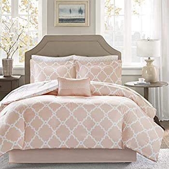 Image of 9 Piece Pink Blush Persian Trellis Pattern Comforter with Sheets Queen Set, Elegance All Over Rich Geometric Motif Design, Reverse Bedding, Modern Traditional Style, Bright Colors, for Unisex