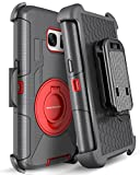 Galaxy S7 Case, S7 Case, BENTOBEN 4in1 Hybrid Shockproof Heavy Duty Rugged Full Body Protective Cover Built-in Rotating Kickstand Swivel Belt Clip Holster Case for Samsung Galaxy S7- Black/Red