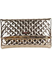 Crossbody Bag Quilted Fold-over Metallic Clutch Bag with Detachable Shoulder Strap