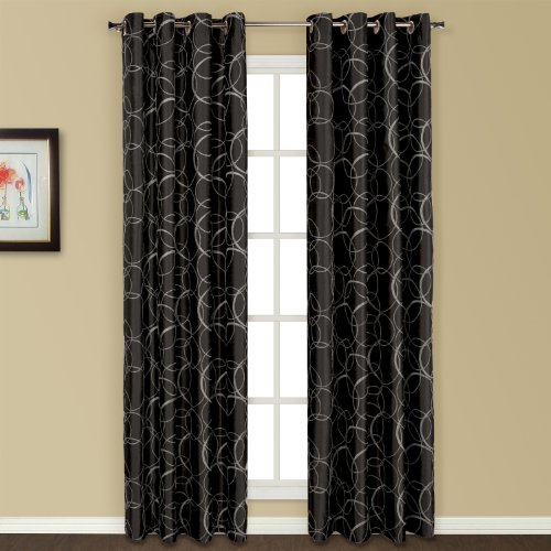 United Curtain Sinclair Embroidered Window Curtain Panel, 54 By 84 Inch,  Black