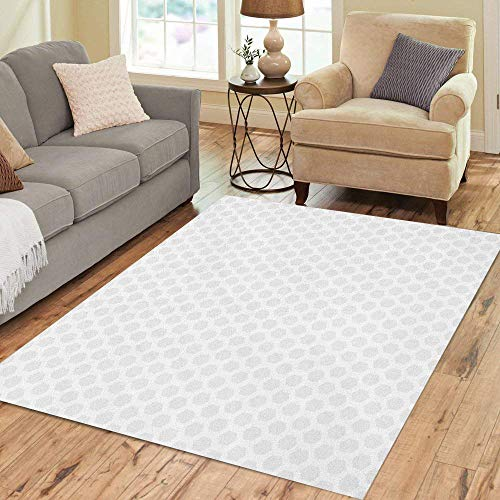 Pinbeam Area Rug Hexagon of Simple Geometric Pattern White Mosaic Abstract Home Decor Floor Rug 2' x 3' Carpet