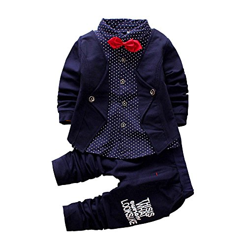 2pcs Baby Boy Dress Clothes Toddler Outfits Infant Tuxedo Formal Suits Set Shirt + Pants(Navy, -